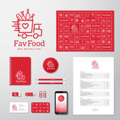 Photo Favorite Food Delivery Abstract Vector Concept Icon or Logo Template with Corporate Identity and Stationary