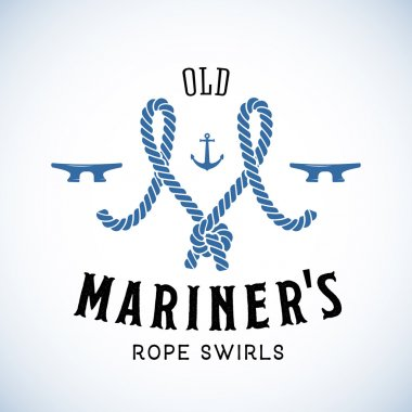 Old Mariner Abstract Vector Retro Logo Template or Vintage Label with Typography