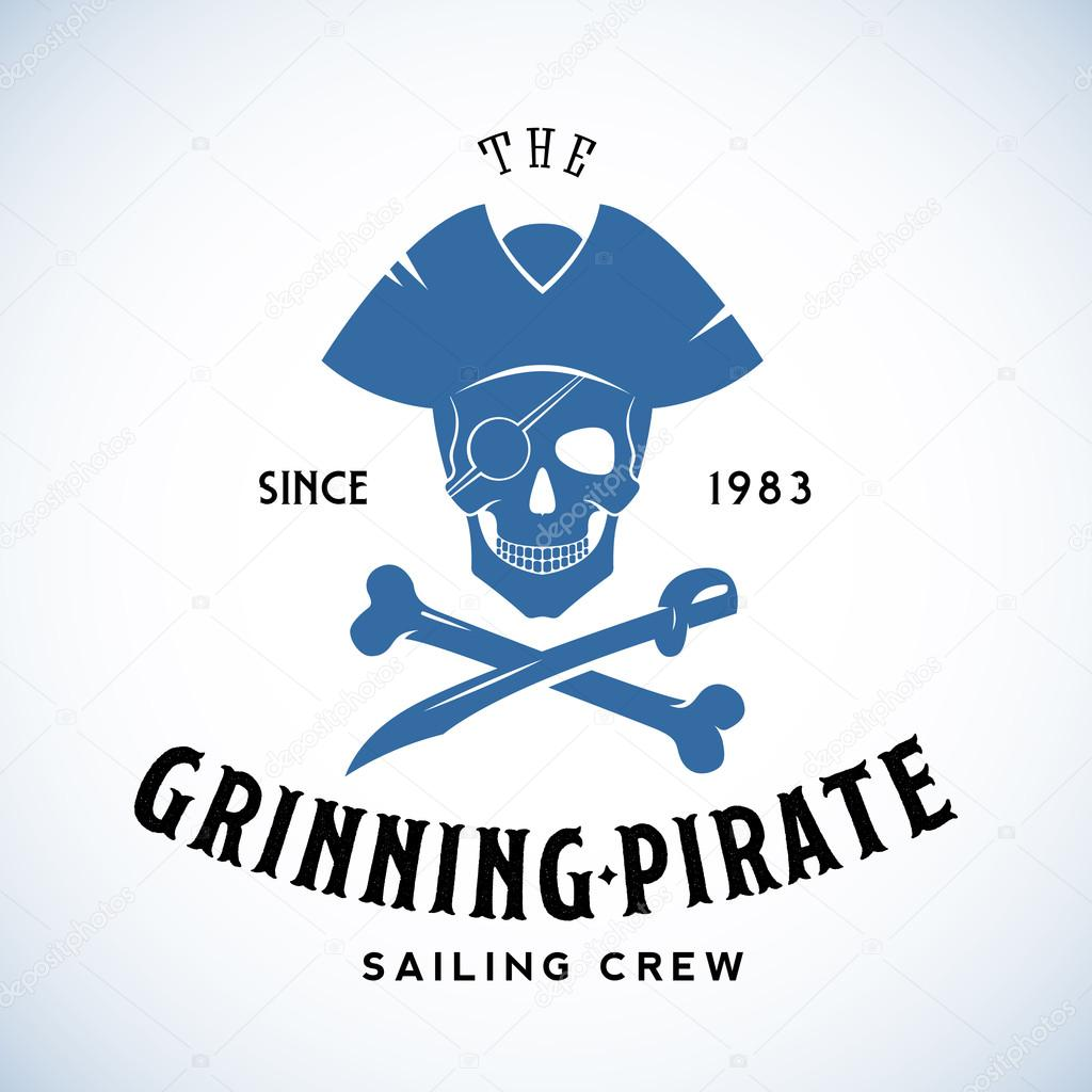 the grinning pirate sailing crew abstract vector retro logo template