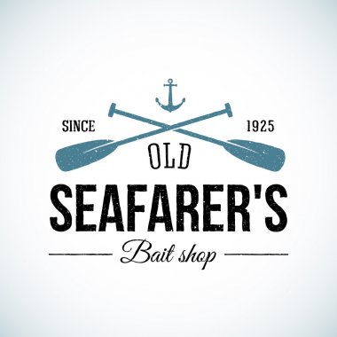 Old Seafarers Bait Shop Vintage Vector Logo Template with Shabby Texture.