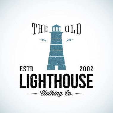 The Old Lighthouse Nautical Abstract Vector Retro Label or Logo Template with Typography. Good for Clothing and Other Business.