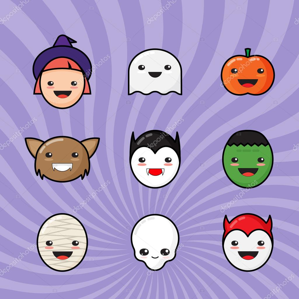 Cute Kawaii Halloween Icons Set. Funny Monster Faces on Colorful ...