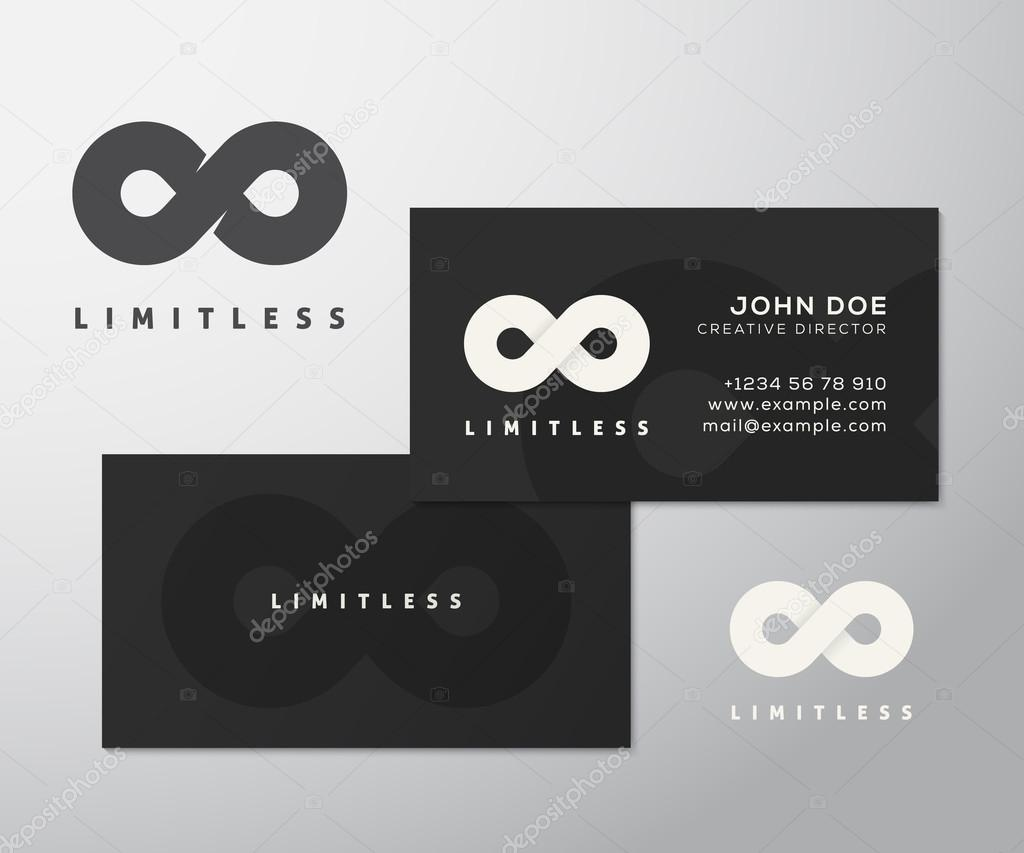 Abstract vector limitless infinity symbol icon or a logo with abstract vector limitless infinity symbol icon or a logo with business card template mock up stilysh black background and realistic soft shadows reheart Image collections