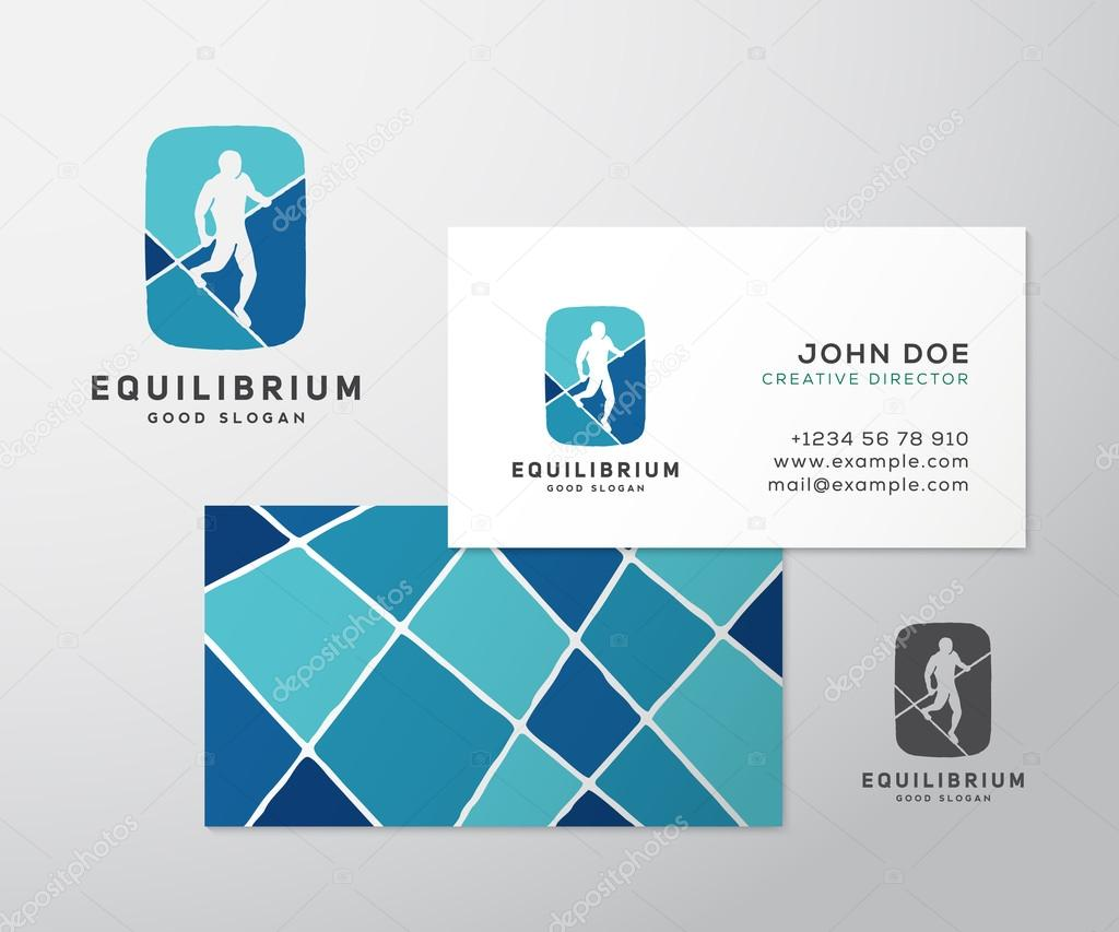 Equilibrist or a tightrope walker abstract vector sign logo equilibrist or a tightrope walker abstract vector sign logo template label with business card layout or mock up created using negative space reheart Images
