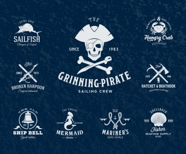 Vintage Nautical Labels or Design Elements With Retro Textures and Typography. Pirates, Harpoons, Knots, Seashells, Mermaid, Sailfish, Bells, etc. Fits Perfect for a T-shirt Design, Posters, Flayers