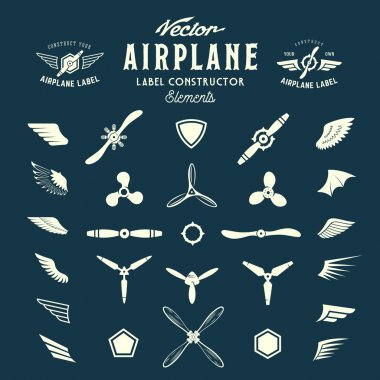 Abstract Vector Airplane Labels or Logos Construction Elements. On Blue Background