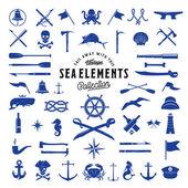 Fotografie Vintage-Vektor-Meer oder nautische Elemente Symbolsatz für Ihre Retro Etiketten, Abzeichen und Logos