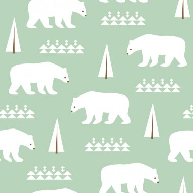 Seamless background with polar bears