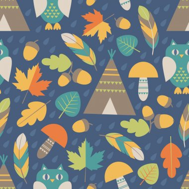 Seamless pattern: autumn forest
