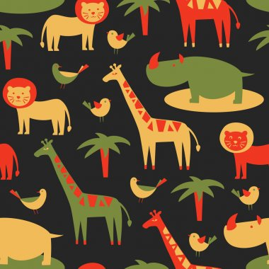 Seamless pattern with cute african animals