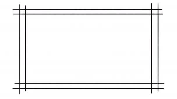 Ručně kreslený kreslený dvojitý kreslený snímek, animovaný design okrajů