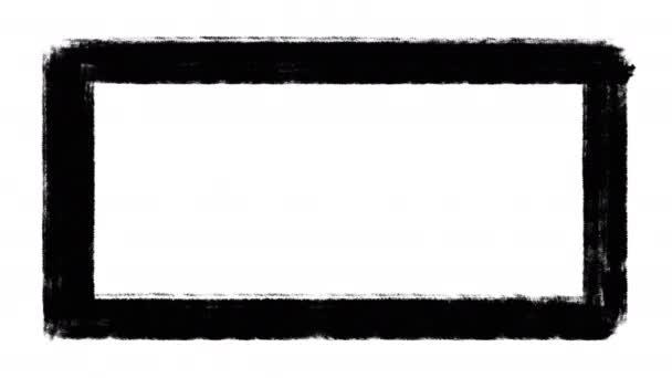 Black distressed grunge frame animace, ručně malované okraje na bílém pozadí