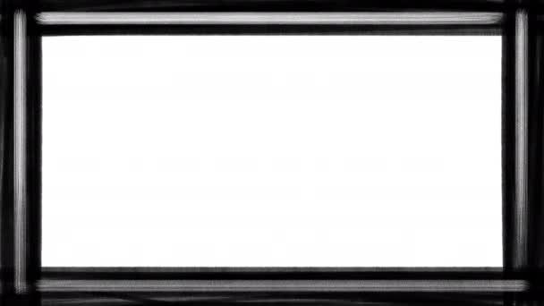 Fekete-fehér festék csíkos határ, stop mozgás animáció elszigetelt fehér alapon