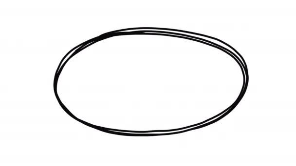 Doodle ovális keret fehér és fekete hátterű, gyermeki stop motion scribble animáció