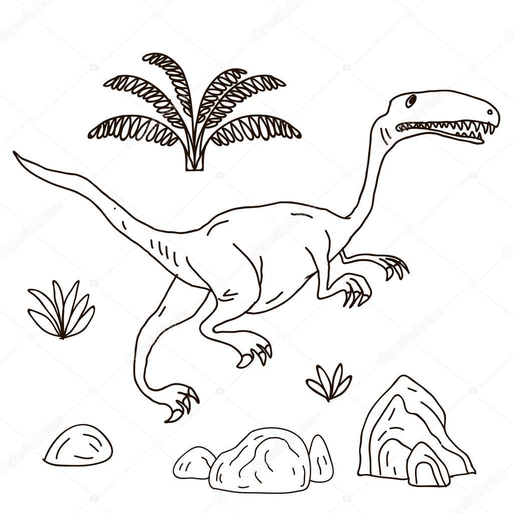 Vector ilustración dibujado a mano Jurásico — Archivo Imágenes ...