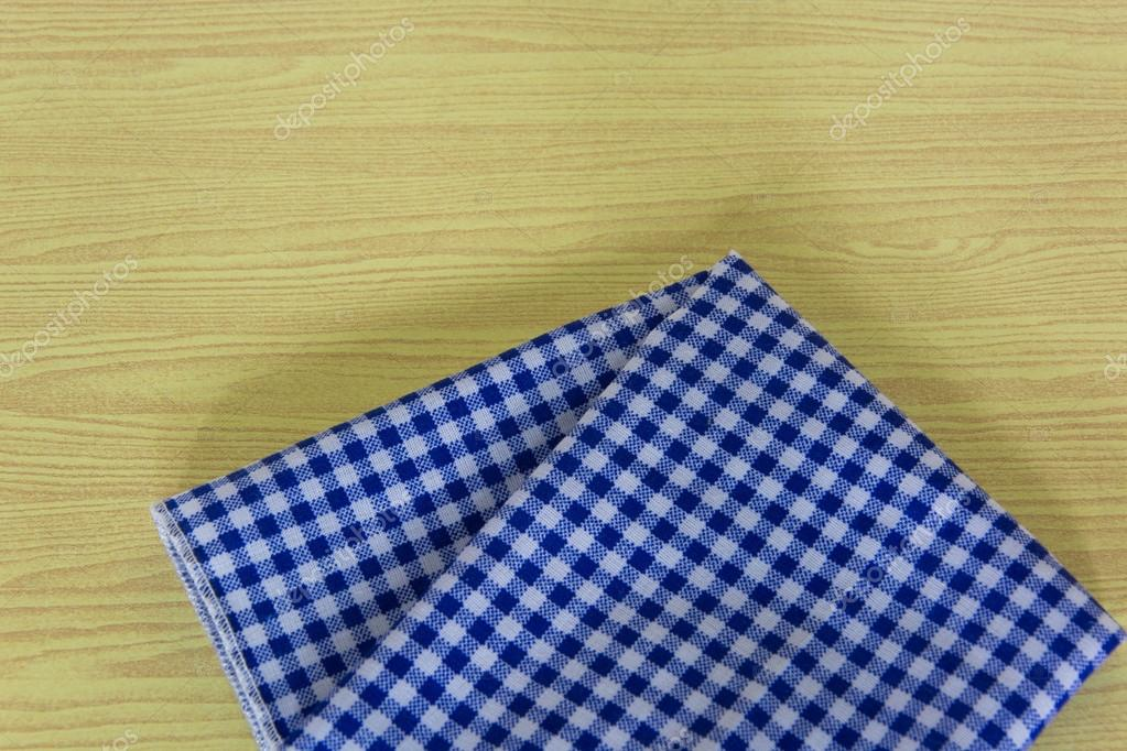Blue White Checkered Tablecloth In An Old Wooden Table U2014 Stock Photo