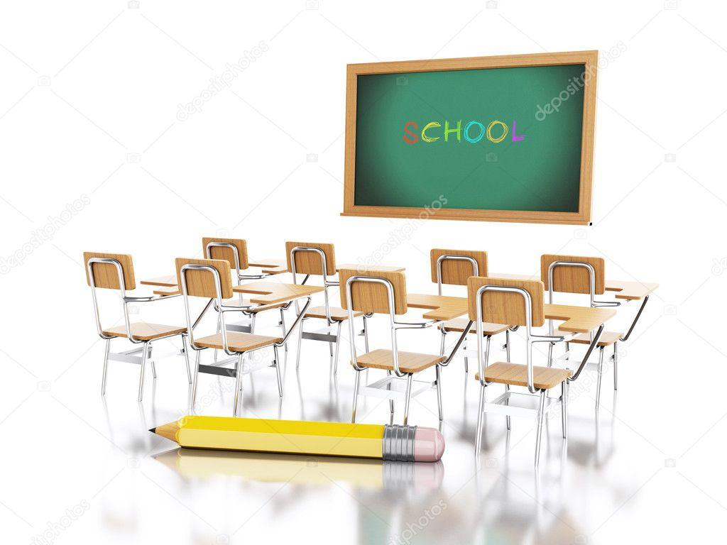 Photographie 3d And School ChairsChalkboard Nicomenijes Pencil— FJcT5u13Kl