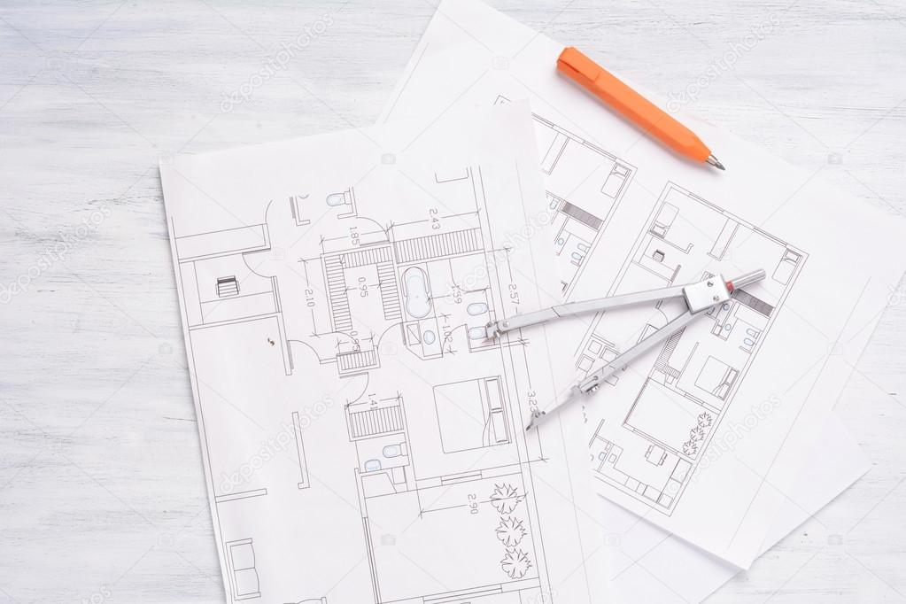 3D Haus Plan Mit Bleistift Und Kompass U2014 Stockfoto