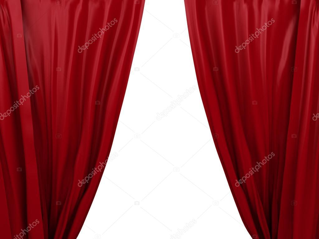 rood gordijn te openen. plaats voor tekst — Stockfoto © nicomenijes ...