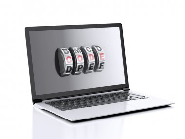 Laptop and combination Lock. Data security concept.