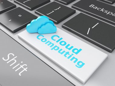 3d Cloud on computer keyboard. Cloud computing concept