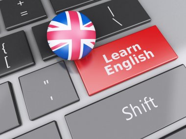 3d Learn English on computer keyboard. Education concept