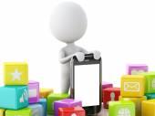 Fotografie 3D Menschen mit Handy und app Icons auf weißem Hintergrund