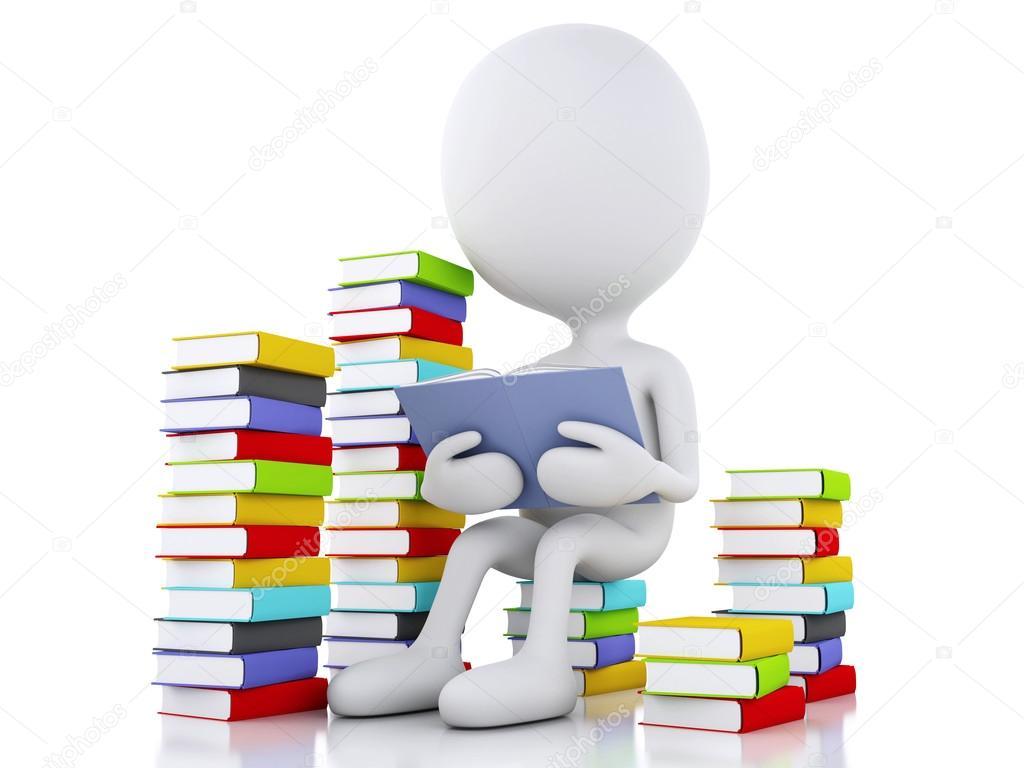 3D Personas Blancas Leyendo Un Libro Sobre Fondo Blanco