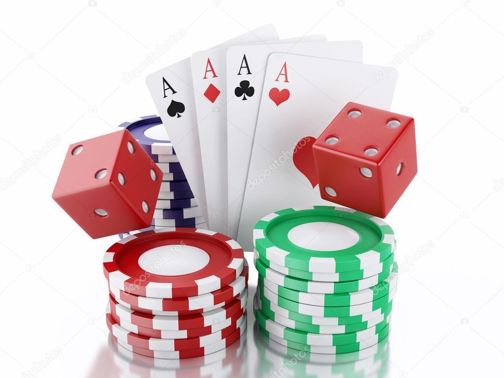 3d De Dés De Cartes Et De Jetons Concept De Casino Backgro Blanc