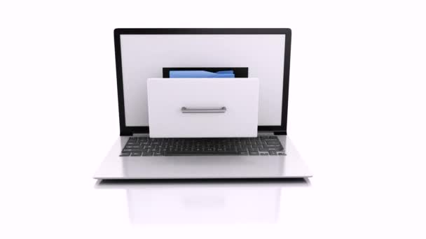 Laptop and files. 3d animation