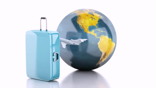 3d travel suitcase, airplane and world globe.