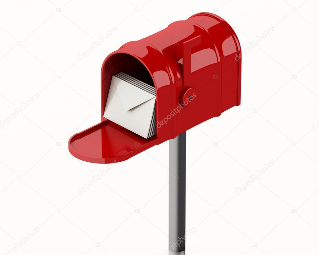 3d illustration. Red mail box with heap of letters. Isolated white background — Photo by ...