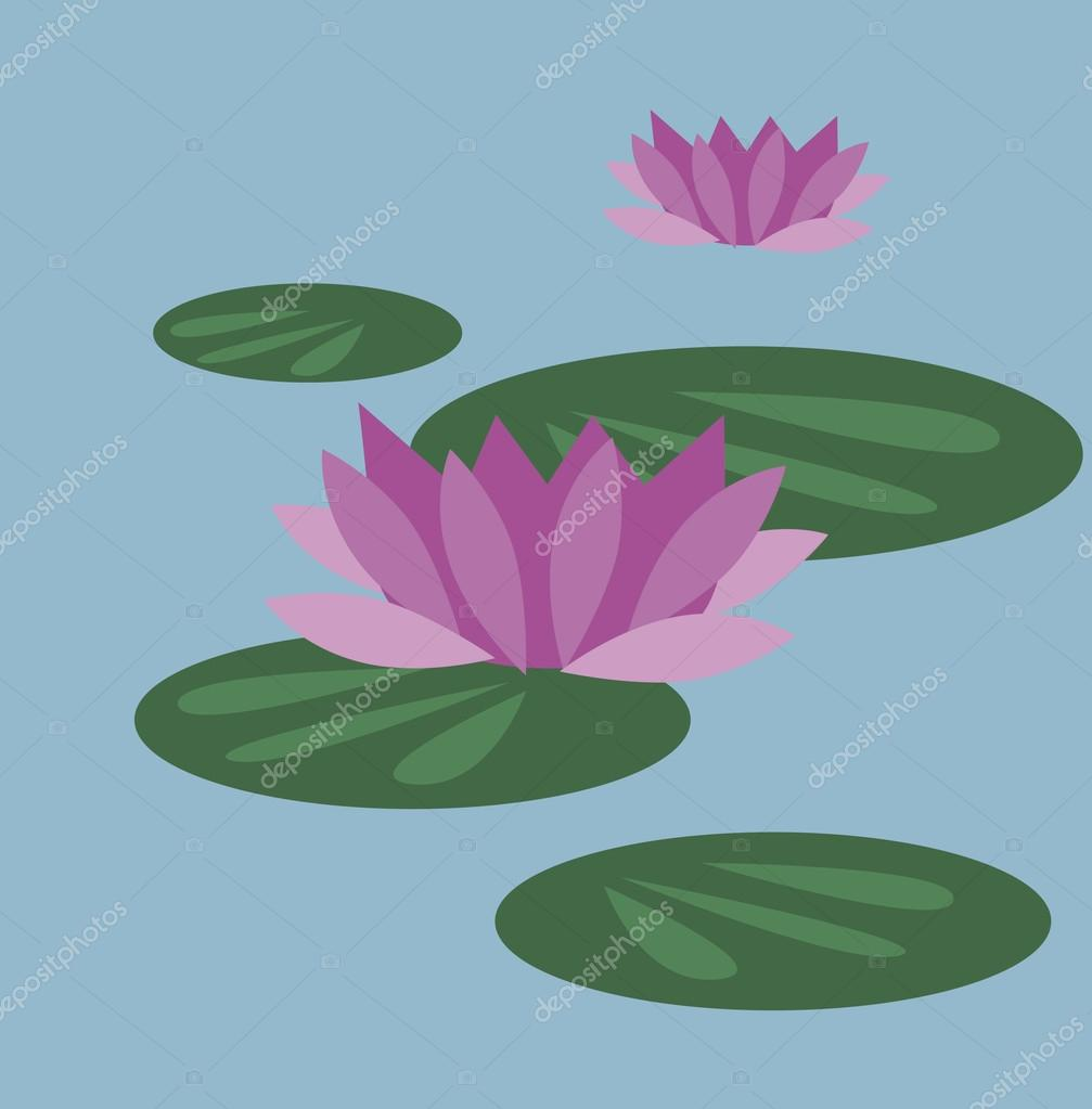 Vector illustration of lily pads with flowers