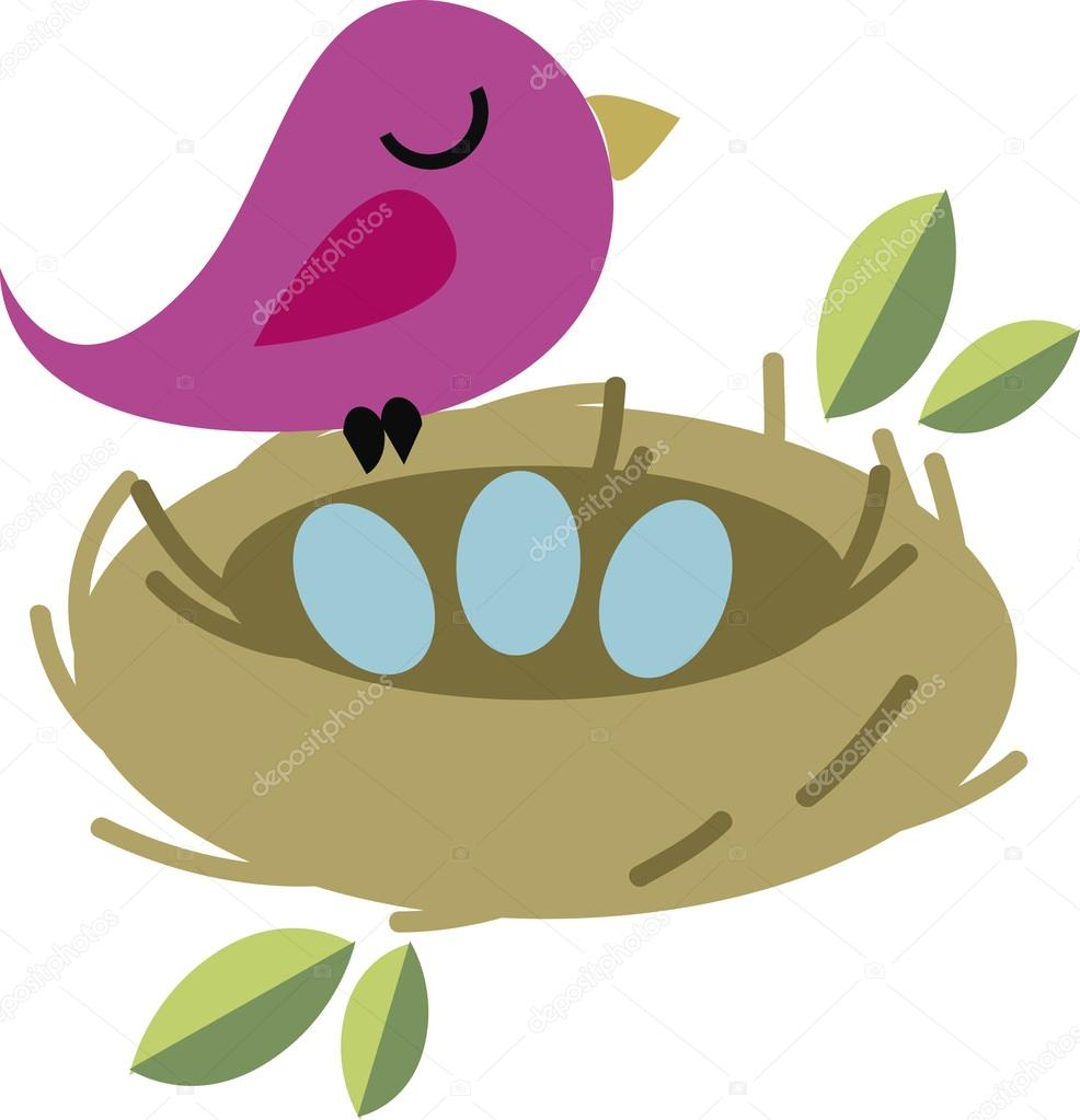 Vector illustration of bird with nest and eggs
