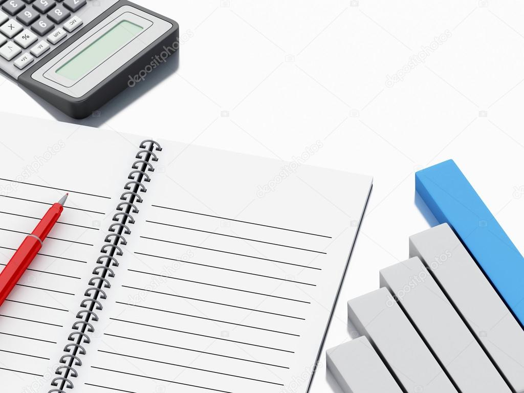 3d notepad with bar graph and office calculator stock photo 3d notepad with bar graph and office calculator stock photo ccuart Gallery