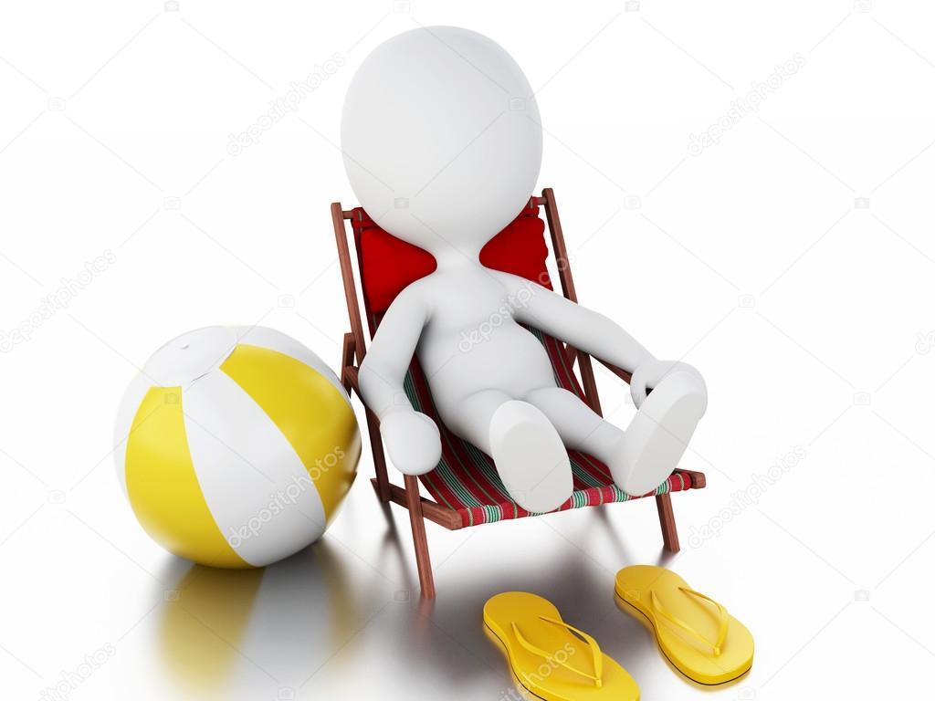 Imagen en 3D. Gente blanca relajado en una silla de playa. Concepto de  vacaciones de verano. Fondo blanco aislado — Foto de nicomenijes 5f47d6c4cf38