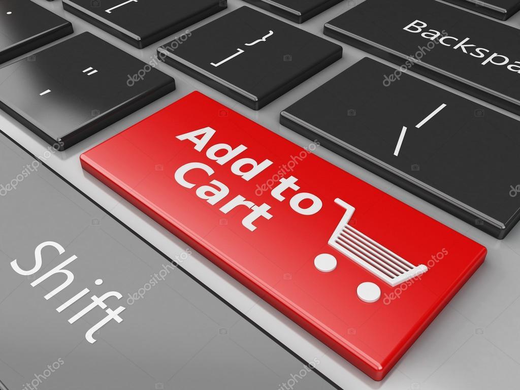 Datorns tangentbord med Lägg i varukorgen knappen. Online shopping koncept  — Foto av nicomenijes a2b882ae09647