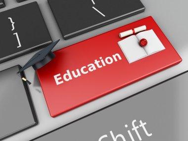 3d graduation cap and diploma on computer keyboard.