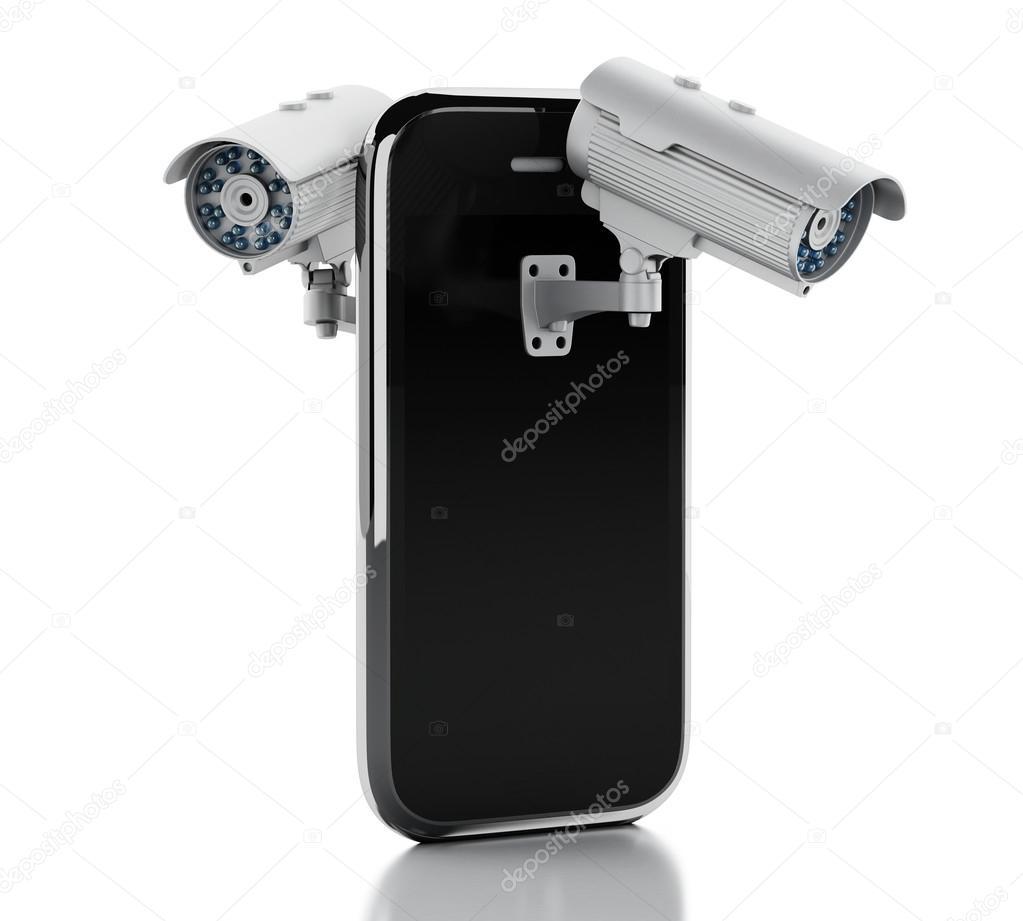 Circuito Cerrado : D smartphone con cámara de circuito cerrado de televisión