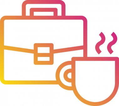 Briefcase and mug vector illustration icon