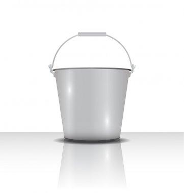 metal bucket with handle  vector illustration
