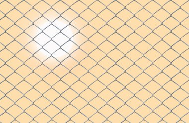 Sun behind a wire fence