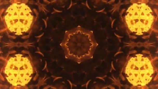Zlatá a červená fraktální květ, červené a žluté kaleidoskop pohybu pozadí