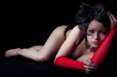 Beautiful woman lying down