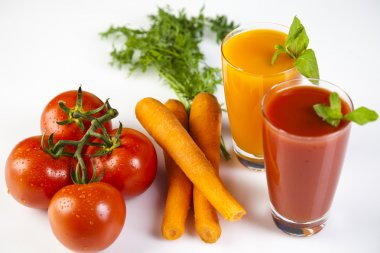 Fruits, vegetables, fruit juices, vegetable juices, healthy food