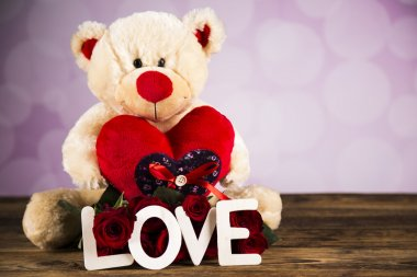 Day of love, Valentine's Day, roses and a teddy bear.