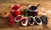 Photo Forest fruit jam Jars of jam, fruit Jars of preserves, jams, fruit
