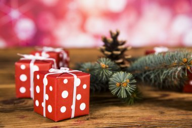 Christmas decoration, Christmas tree with cones, gifts