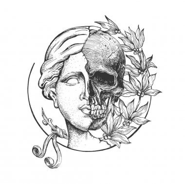 Vector hand drawn illustration of Venus de Milo sculpture. Head of antique greek goddess statue head and skull in half with flowers in vintage engraved style. Isolated on white background