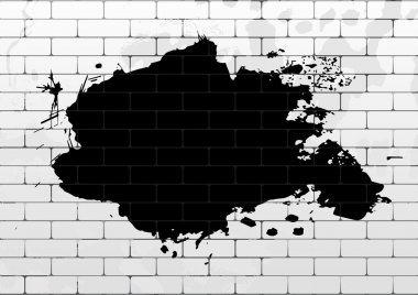 White brick wall with black paint blot. Design for your content. Can be used as flyer, cover, business cards, envelope, and brochure background. clip art vector
